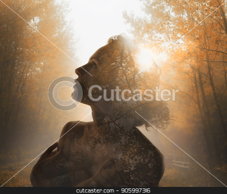 Girl with tree inside. Concept of autumn. Double exposure stock photo, Girl with tree forest inside. Concept of autumn. Double exposure by Federico Caputo