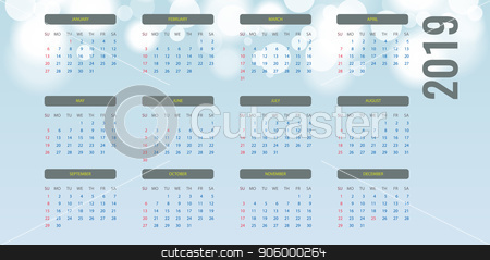 Simple calendar Layout for 2019 year. Bokeh background. Vector illustration. stock vector clipart, Simple calendar Layout for 2019 year. Week starts from Sunday. Bokeh background. Vector illustration. by Zeynur Babayev