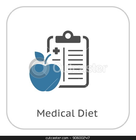 Medical Diet Flat Icon stock vector clipart, Medical Diet Flat Icon Design. Diet Plan. Clipboard with Apple. Medical Services by Vadym Nechyporenko