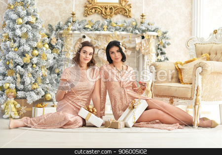 Portrait of beautiful young women sitting on floor stock photo, Portrait of beautiful young women sitting on floor in room decorated to Christmas holiday by Ruslan Huzau