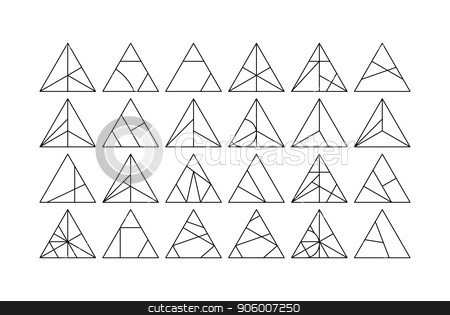 Triangle Vector design elements set stock vector clipart, Mega set of triangle Vector linear design elements for creative project. Black and white Collection in Modern Memphis California New Wave styles by Iuliia Mazur