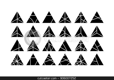 Triangle Vector design elements set stock vector clipart, Mega set of triangle Vector design elements for creative project. Black and white Collection in Modern Memphis California New Wave styles by Iuliia Mazur