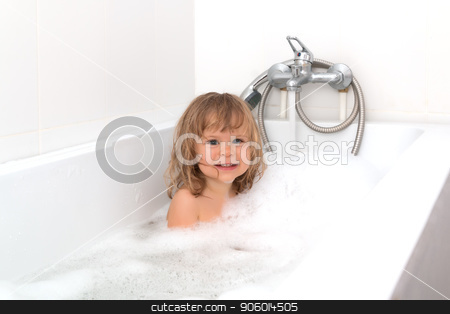 Fun Cheerful Happy Toddler Baby Taking A Bath Playing With