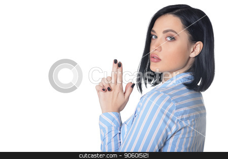 Portrait of pensive young woman on white background stock photo, Portrait of pensive young woman isolated on white background by Ruslan Huzau