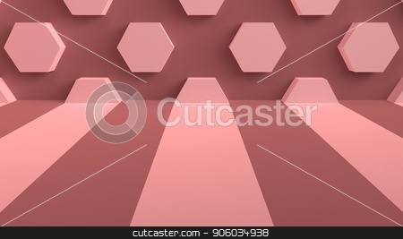 Studio background with stripes on the floor and hexagons on the wall. 3d rendering. stock photo, Studio background with stripes on the floor and hexagons on the wall. 3d rendering by Vladimir Khapaev
