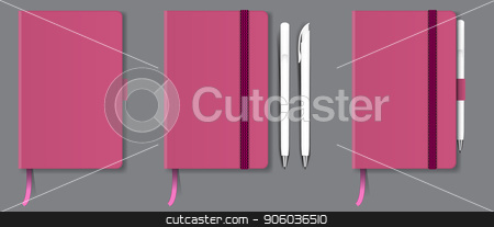 Pink realistic hard cover notebook with red bookmark, ribbon and pen. Vector illustration. stock vector clipart, Pink realistic hard cover notebook with red bookmark, ribbon and pen. High detailed vector illustration. by Zeynur Babayev