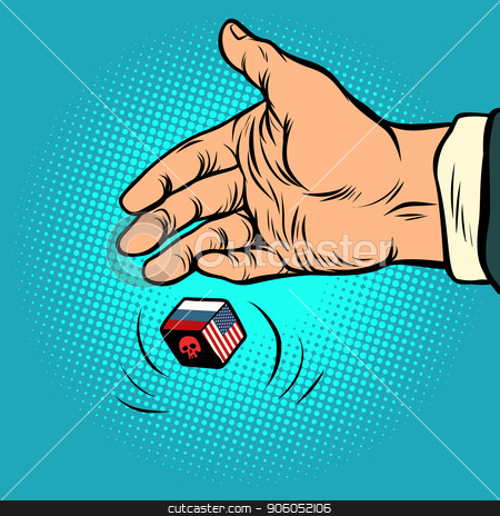 Politics russia and usa confrontation. hand throws dice stock vector clipart, Politics russia and usa confrontation. hand throws dice. Comic cartoon pop art retro vector illustration drawing by rogistok