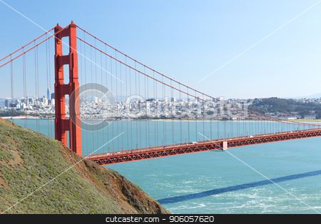view of golden gate bridge over san francisco bay stock photo, landscape concept - view of golden gate bridge over san francisco bay by Syda Productions