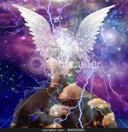 Winged head stock photo, Winged man head on star filled by Bruce Rolff