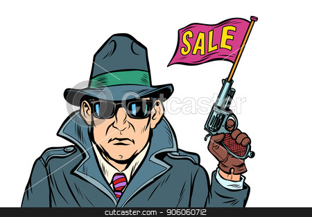 spy secret agent start sales. isolate on white background stock vector clipart, spy secret agent start sales. isolate on white background. Comic cartoon pop art retro vector illustration drawing by rogistok