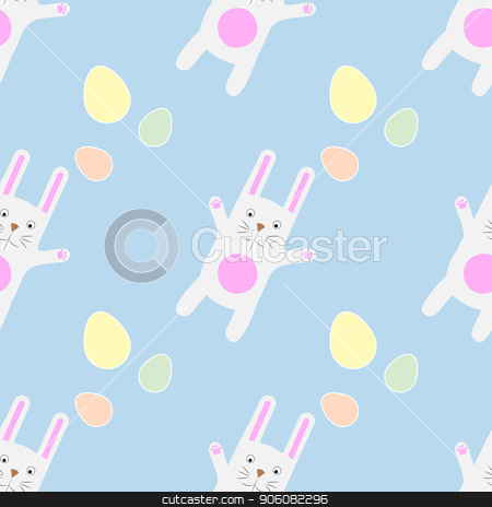 Easter Seamless Pattern Funny cartoon bunny with eggs. Gentle print stock vector clipart, Easter Seamless Pattern Funny cartoon bunny with eggs. Gentle print 10 eps by Aleksandra Chebysheva