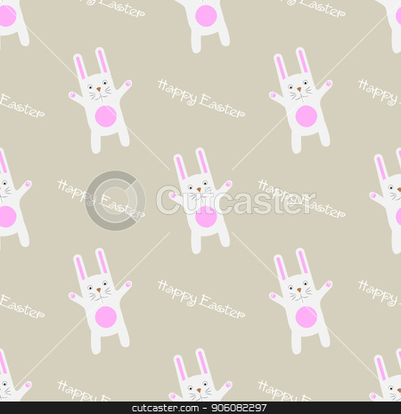 Easter Seamless Pattern Funny cartoon bunny with text Happy Easter. Gentle print 10 eps stock vector clipart, Easter Seamless Pattern Funny cartoon bunny with text Happy Easter. Gentle print by Aleksandra Chebysheva