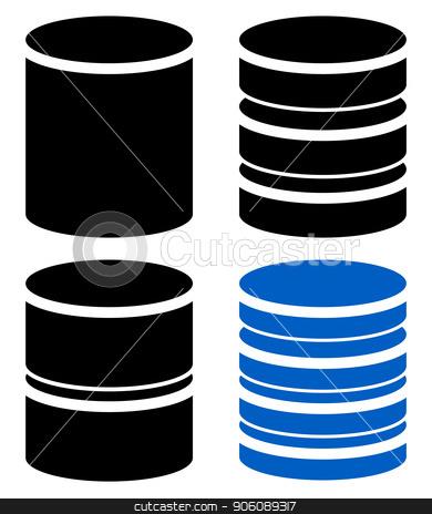 Different barrel (cylinder) shape symbol, icon set stock vector clipart, Different barrel (cylinder) shape symbol, icon set by AnavVectors