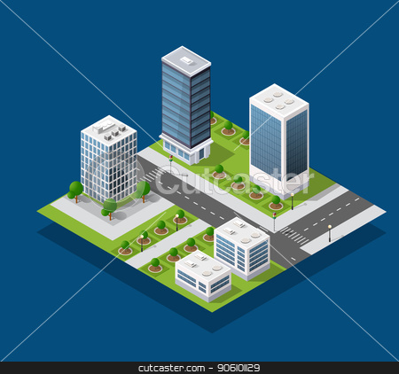 Isometric city block stock vector clipart, Isometric city block and urban infrastructure of houses, streets and trees. by Alexander Zelnitskiy