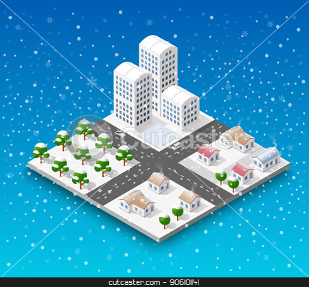 Isometric city block stock vector clipart, Christmas city isometric urban winter quarter in the snow and in snowflakes, snowstorms and the festive landscape of the New Year holidays by Alexander Zelnitskiy