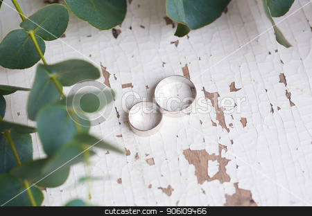 two wedding rings stock photo, two wedding rings on a white table with old eucalyptus branches by Sergiy Artsaba