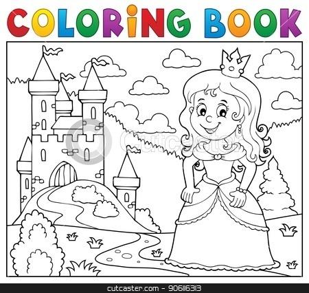Coloring book princess topic image 1 stock vector clipart, Coloring book princess topic image 1 - eps10 vector illustration. by Klara Viskova