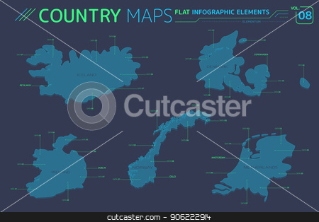 Iceland, Norway, Ireland, Netherlands and Denmark Vector ...