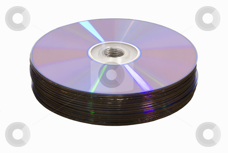 Stack of dvd cd media stock photo, Stack of dvd cd media isolated by John Teeter