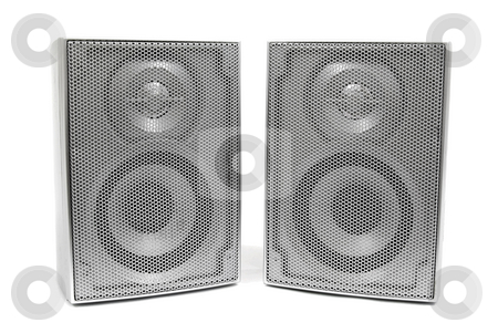 Silver stereo speakers stock photo, Silver stereo speakers on white by John Teeter