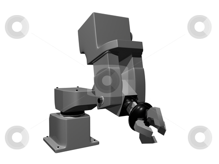 3D Grey Mechanical arm stock photo, 3D Grey mechanical arm on isolated background by John Teeter