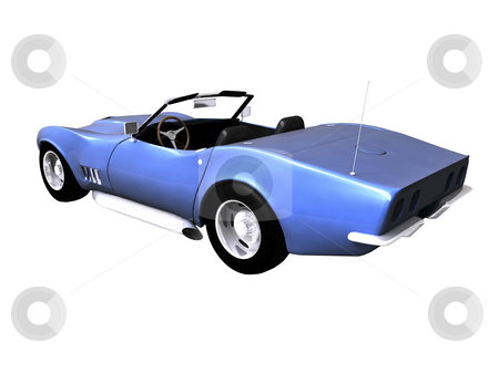 3D Blue sports car on white stock photo, 3d Blue sports car on white background by John Teeter