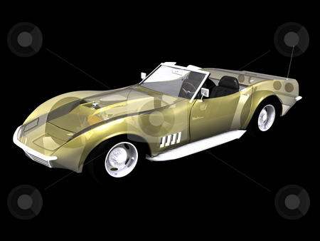 Transparent 3d sports car stock photo, Transparent 3d sports car on black background by John Teeter