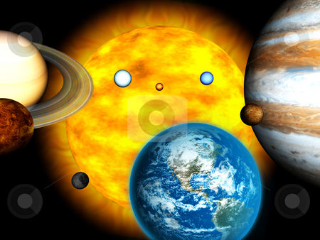 3D universe with sun stock photo, 3D universe with sun by John Teeter