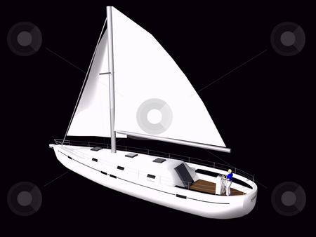 3D Sailboat side rear view stock photo, 3D Sailboat side rear view on isolated black background by John Teeter