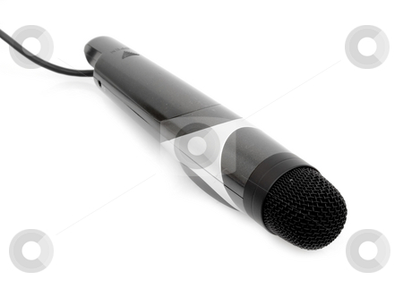 Karaokee Microphone stock photo, Karaokee microphone on white background by John Teeter