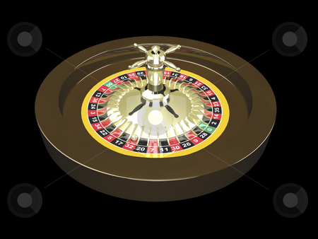 3D Roulette wheel stock photo, 3D Roulette wheel on black background by John Teeter