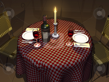 3D Dining Scene stock photo, 3D Dining Scene by John Teeter