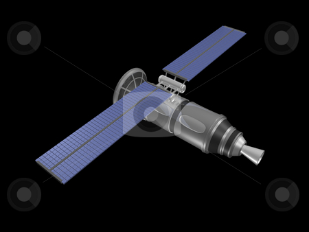 3D satellite on black background stock photo, 3D satellte on black background by John Teeter