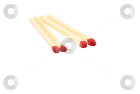 4 isolated matches stock photo, 4 isolated marches on white background by John Teeter