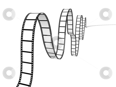 Film strip stock photo, Film strip on white background by John Teeter