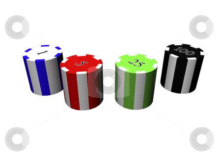 3D Poker chips stock photo, 3D poker chips isolated by John Teeter