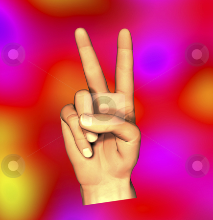 Fingers giving peace sign stock photo, Fingers giving pease sign with tye-dye background by John Teeter