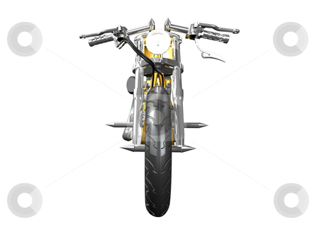 3D motorcycle front view stock photo, 3D motorcycle front view on white by John Teeter