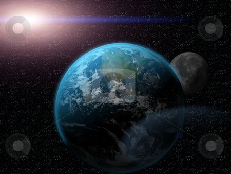 3D Earth in universe stock photo, 3D Earth in Universe by John Teeter