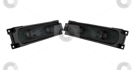 Pair of audio speakers stock photo, Pair of audio speakers on isolated white background by John Teeter