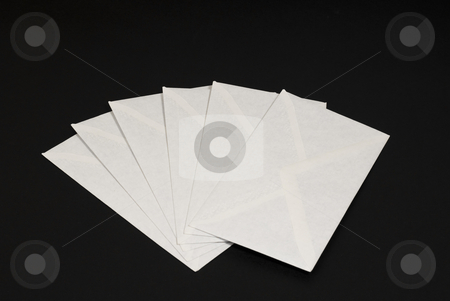 Set of envelopes on black stock photo, Set of envelopes on black background by John Teeter