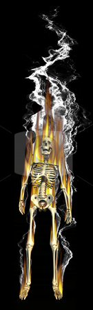 3D Skeleton on fire stock photo, 3D Skeleton on fire by John Teeter