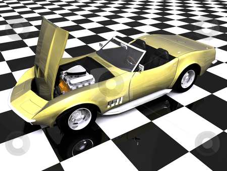 3d golden sports car hood up stock photo, 3d golden sports car with hood up on showroom checkered floor by John Teeter
