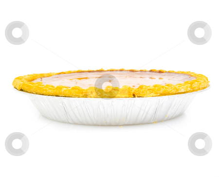 Pumpkin pie side view stock photo, Pumpkin pie side view on white by John Teeter