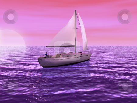3D Sailboat with sun setting stock photo, 3D sailboat on sea with sun setting by John Teeter