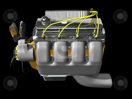 3D engine on black stock photo, 3d engine on black background side view by John Teeter