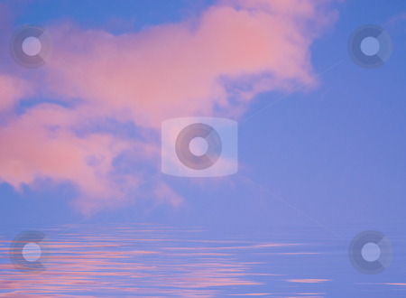Pink clouds with sky  stock photo, Pink clouds with sky and copy space by John Teeter