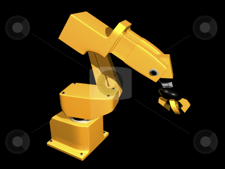 3D Orange robotic arm stock photo, 3D Orange robotic arm on black background by John Teeter
