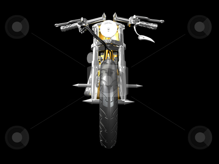 3D motorcycle front view stock photo, 3D Motorcycle front view on black by John Teeter