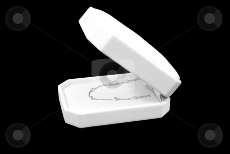 Silver necklace side view stock photo, Silver necklace in box side view by John Teeter